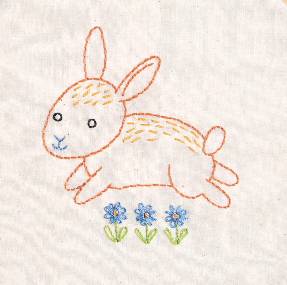 Bunny hand embroidery pattern printable pdf file